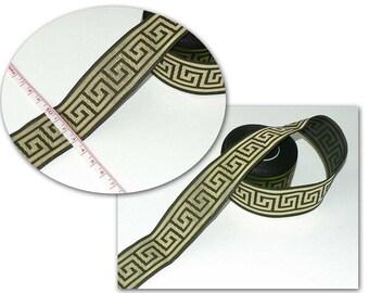 Borte 33mm Mäander 1,50Euro/m Jacquardborte grün-gold historisch griechisch