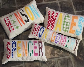 Personalized appliqued pillow