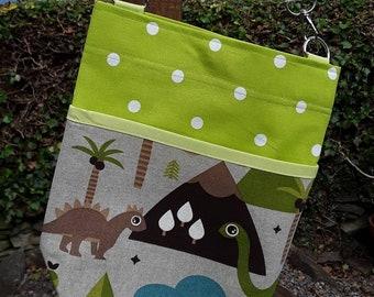 Teacher Bag DINOSAURS 100% cotton choice polka dot fabric 3 or 6 pockets Crossbody Bag  PPE sanitiser mask classroom supplies Teacher gift