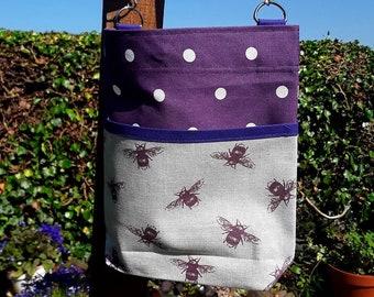 Teacher Bag Purple BEES with choice of polka dot fabric 3 or 6 pockets Crossbody Bag for PPE sanitiser mask classroom supplies Teacher gift
