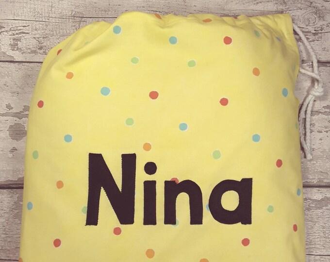 Nursery bag, Personalised bag, Drawstring bag, Yellow Smartie Polka Dot, School bag, Birthday gift, Baby gift, Personalised in Felt