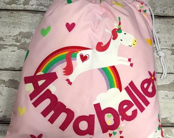 Unicorn Personalised Shoe Bag, Drawstring Bag, School Bag, Pump Bag, Gym Bag, Nursery Bag,  Personalized with Appliqued Felt