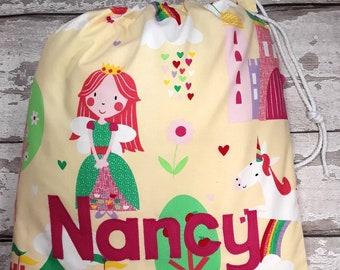 Princess Personalised Shoe Bag, Drawstring Bag, School Bag, Pump Bag, Gym Bag, Nursery Bag,  Personalized with Appliqued Felt