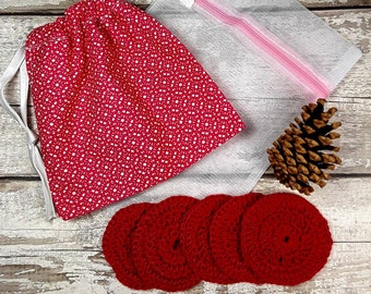 5 reusable crochet face pads and storage bag & wash bag, Eco-friendly, Makeup Removal, Scrubbies, Facial cleansing wipes, Gift