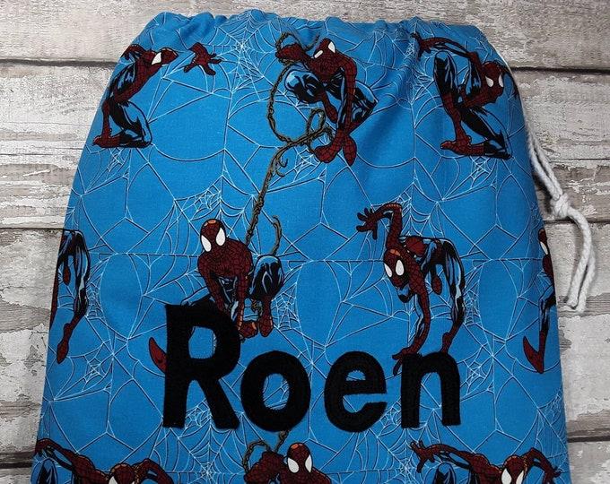 Spiderman PE bag, Personalised Drawstring Bag, School Bag, Pump Bag, Gym Bag, Nursery Bag, Personalized with Appliqued Felt