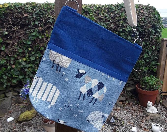 Teacher Bag Sheep with plain Royal Blue fabric 3 pockets Crossbody Bag for PPE sanitiser mask classroom supplies Teacher gift
