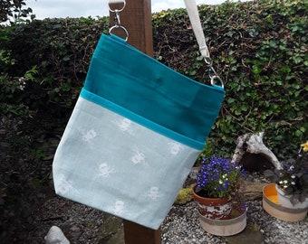 Teacher Bag Bee with plain turquoise fabric 3 pockets Crossbody Bag for PPE sanitiser mask classroom supplies Teacher gift
