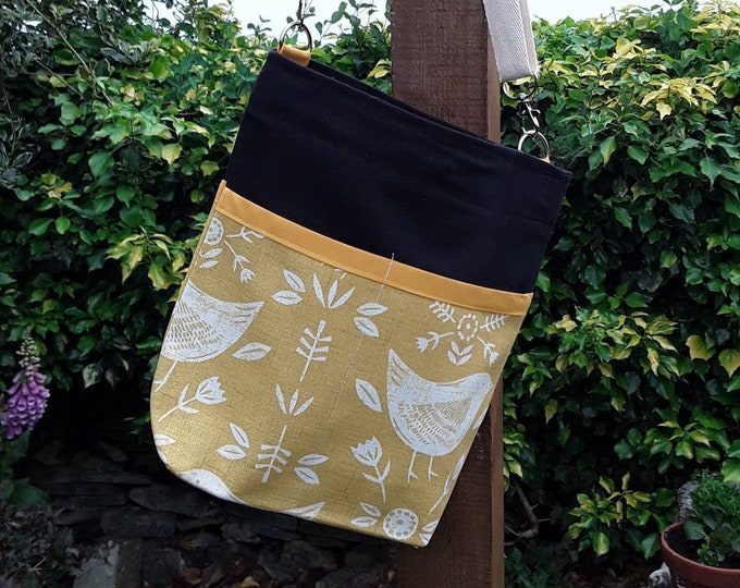 Teacher Bag Scandi style birds in Ochre choice of contrasting fabric 3 or 6 pockets Crossbody Bag for PPE sanitiser mask classroom supplies