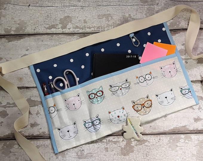 Teachers Apron CATS with choice of polka dot 5 or 3 pocket Teacher gift Vendor apron Teacher Utility Belt Waist Apron RWI 3 pocket Apron