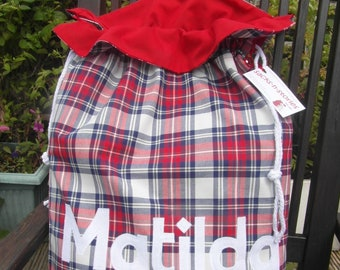 Tartan Santa Sack Personalised Christmas Gift Bag Traditional Scottish Tartan