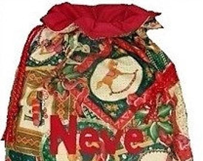 Santa Sack Personalised Christmas Gift Bag Victorian Print Personalized Santa Stocking