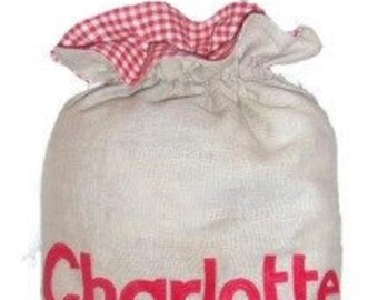 Personalized Santa Sack Traditional Christmas Red Gingham Personalised