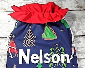 Personalised Christmas Bag Xmas Trees Blue Santa Sack Personalized