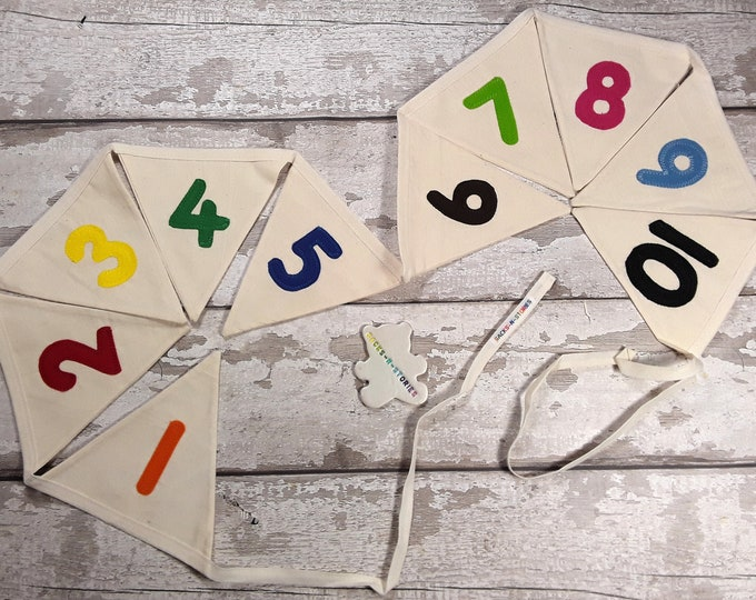 NUMBERS Cotton Calico bunting with multicoloured felt numbers 10 flags lined 160cm