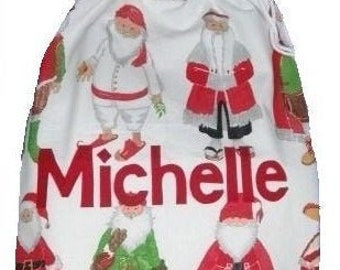 Personalized Santa Sack in WHITE for Christmas Eve Santa Around the World Silver Bells LARGE 100% cotton Personalised