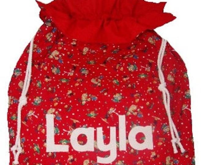 Santa Sack Personalised Christmas Gift Bag Teddy Print Personalized