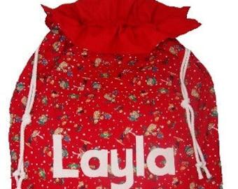 Santa Sack Personalised Christmas Gift Bag  Personalized Teddies at Play for Christmas Eve