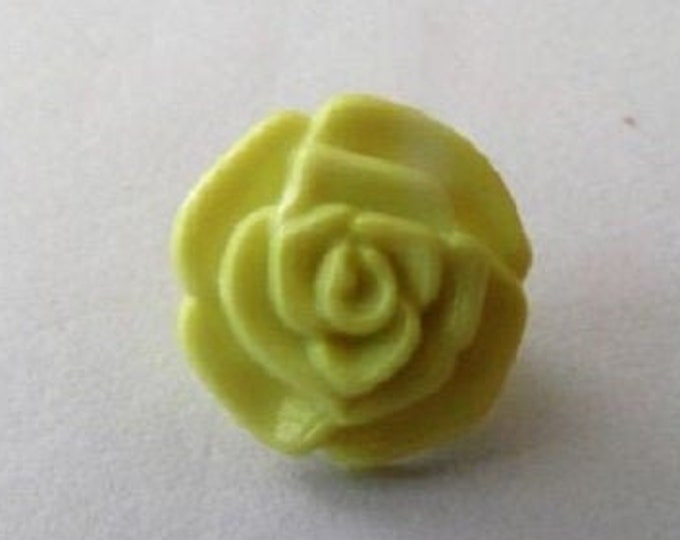 Buttons Yellow Rose Flower Shank Button x 10 size 13mm suitable for baby knitwear Pack of ten