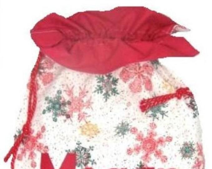 Santa Sack Personalised Christmas Gift Bag Snowflakes Personalized
