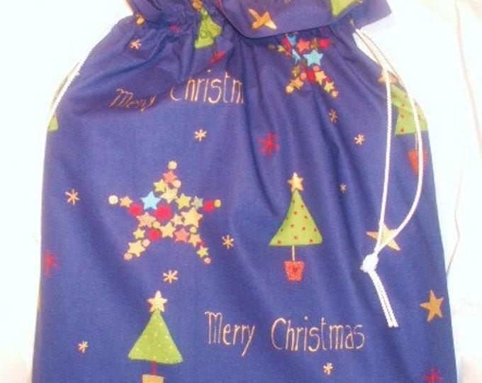 Personalised Christmas Bag Xmas Trees Blue Santa Sack Personalized Noel