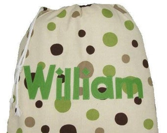 Gym Bag Personalised School Kit Spotty Personalized Bag for Nursery Kindergarten Childminder