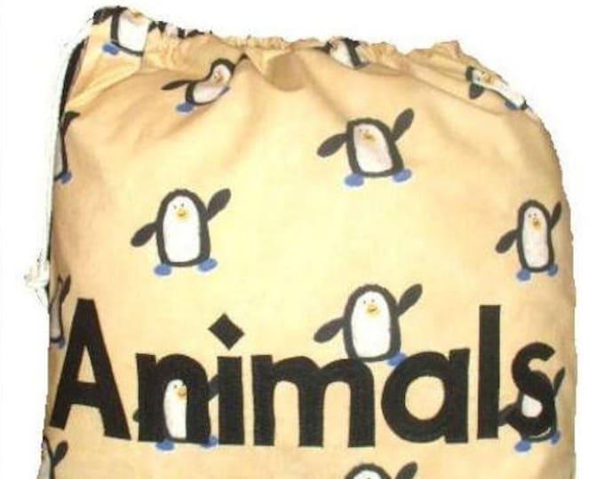 Penguin Personalised Drawstring Bag for School Gym kit Nursery Childminder or Kindergarten Personalized in Felt