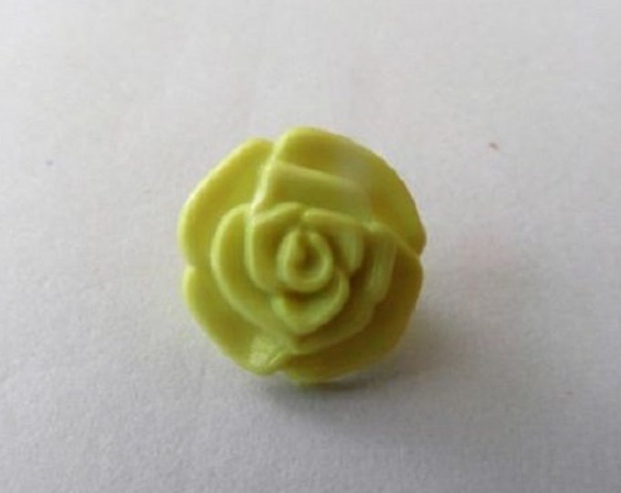 Yellow Rose Flower Shank Button x 10 size 13mm suitable for baby knitwear