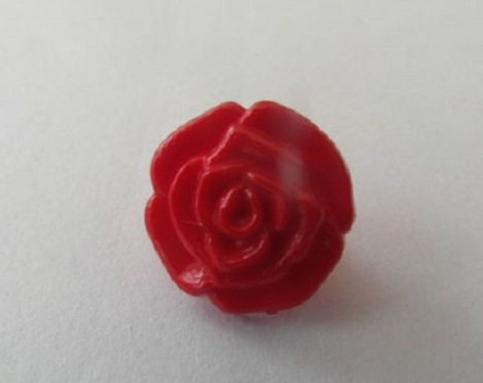 Red Rose Flower Shank Button x 10 size 13mm suitable for baby knitwear