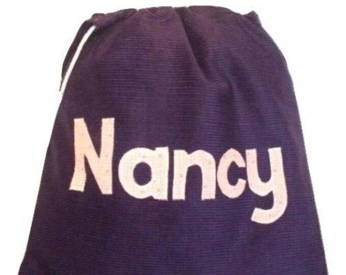 Personalised bag, Gym Bag, School bag, Nursery bag, Dark Navy Corduroy, PE bag, Pump bag, Personalised in Gingham, Childs gift