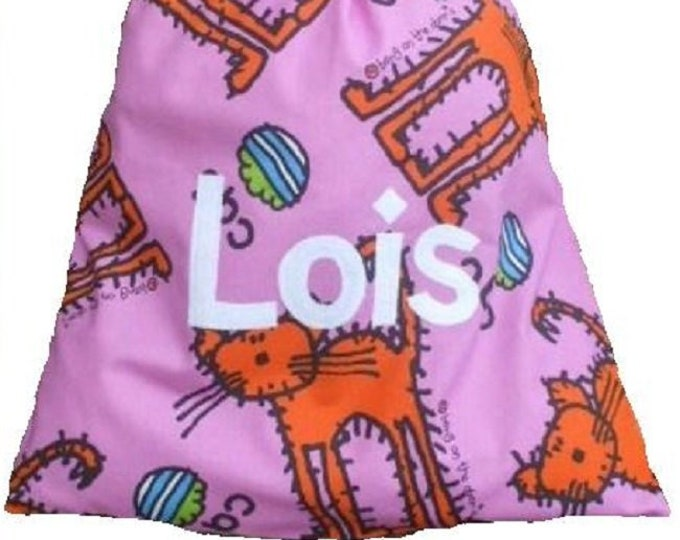 CAT Personalized Drawstring bag, Nursery Bag, Baby Bag, Shoe bag, Pump Bag, Diaper Bag, Nappy Bag Personalised with Appliqued felt