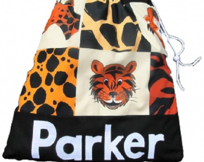 Animal Print Black Bag, Personalised Gym Bag, Pump Bag, PE Bag, Uniform Sports Bag, Drawstring Bag, Nursery Bag
