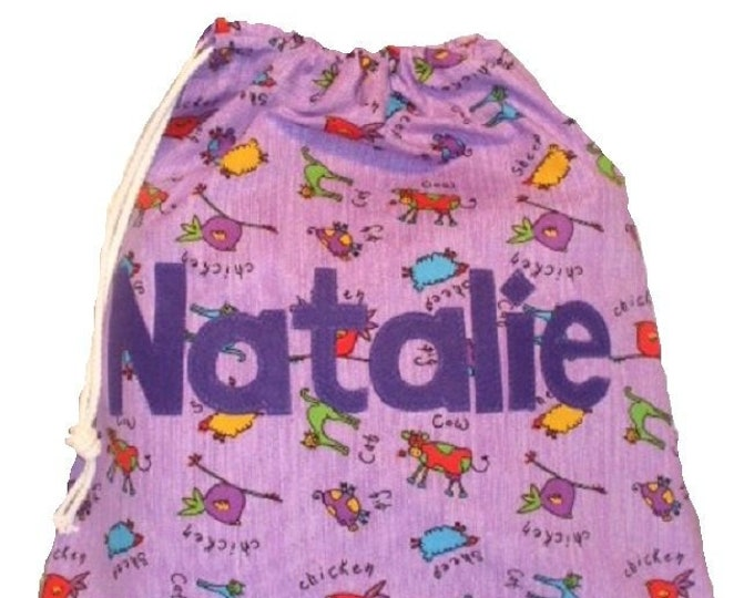 Purple Animal Pump Bag, PE Bag, Nursery Drawstring Bag, Personalised for School or Kindergarten