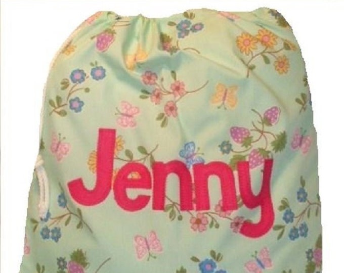 Butterflies on Aqua, Lingerie Bag, Pump Bag, PE Bag, Nursery Drawstring Bag, Personalised for School or Kindergarten