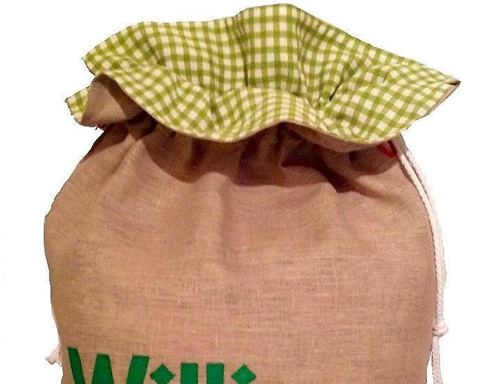 Personalized Santa Sack Traditional Christmas Green Gingham Personalised