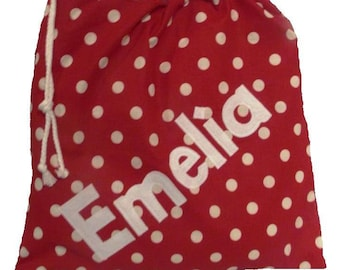 Gym bag, Drawstring bag, Pump bag, Scrub bag, Kit bag, Nursing home bag, Personalised bag, Red Polka Dot, PE bag, Shoe Bag, School Bag