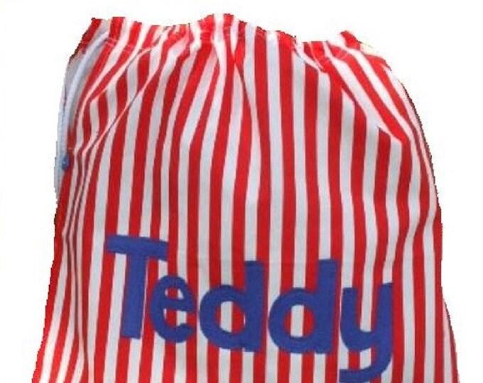Gym bag, Drawstring bag, Pump bag, Scrub bag, Kit bag, Nursing home bag, Laundry bag, Personalised bag, Red Striped Twill