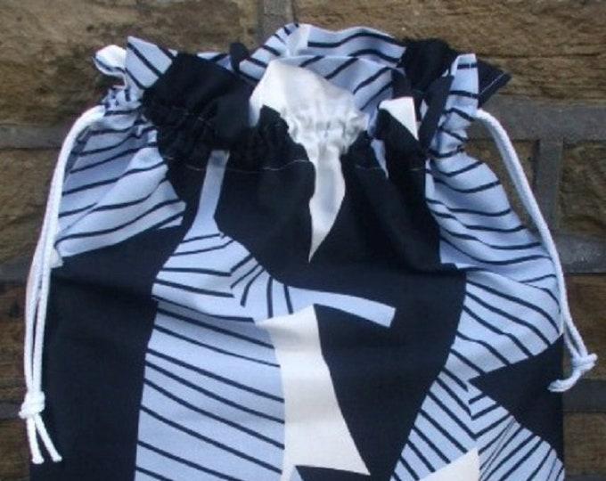 Ikea Gunilla Blue and Black , Laundry Bag, Storage Bag, Large Drawstring Bag, Nursing Home Bag, Utility Bag, Cottton Bag
