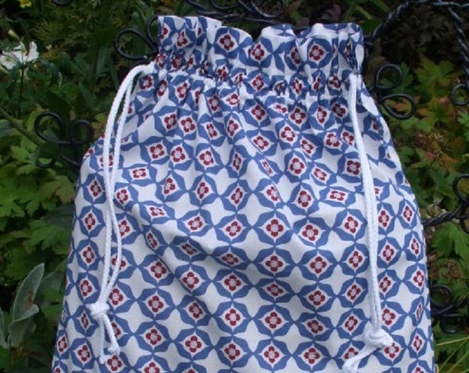 kea Kallt Fabric Kitchen Storage Bag, Blue White Red Laundry Bag, Large Drawstring Bag Utility Bag, Cottton Bag, Nursing Home Bag