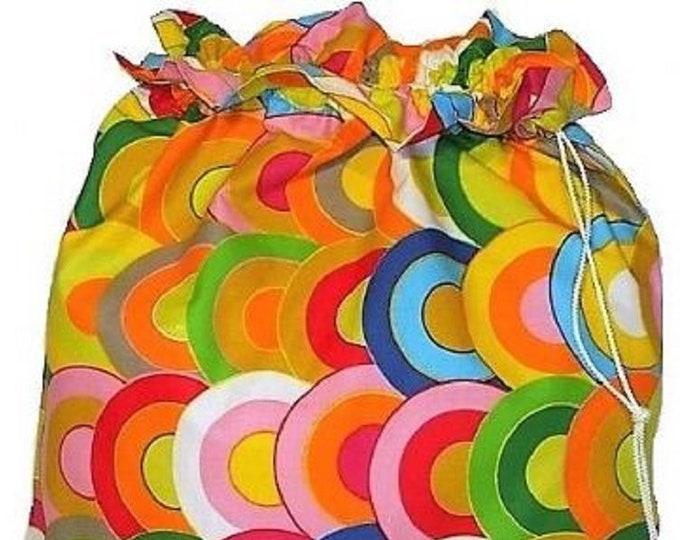 Ikea Belinda Rainbow  Fabric Laundry Bag, Storage Bag, Large Drawstring Bag, Nursing Home Bag, Utility Bag, Cottton Bag, 70's retro