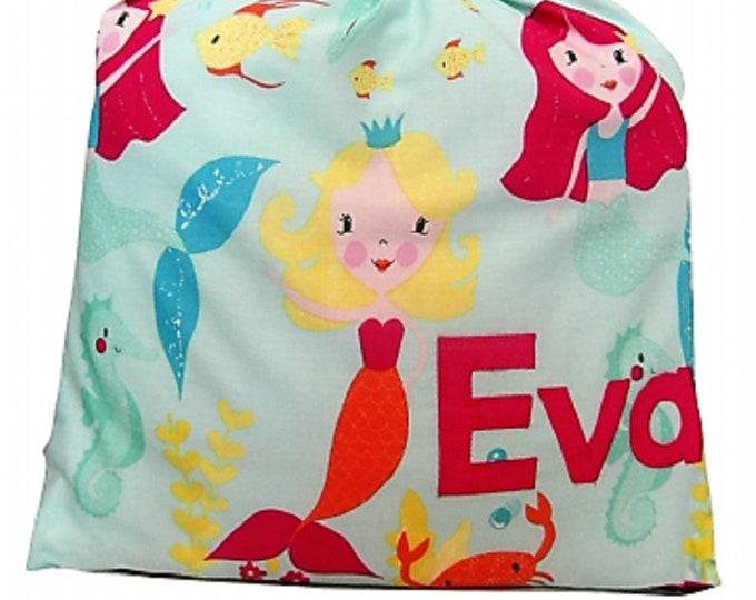 Mermaid Personalised Shoe Bag, Drawstring Bag, School Bag, Pump Bag, Gym Bag, Nursery Bag,  Personalized with Appliqued Felt