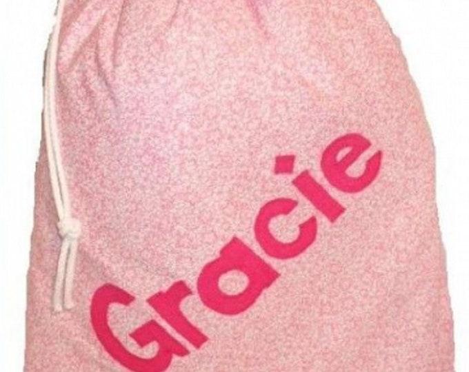 Pale Pink Flowers, Lingerie bag, School bag, Personalised drawstring bag, Nursery bag, Pump bag, PE bag, Baby gift, Appliqued felt