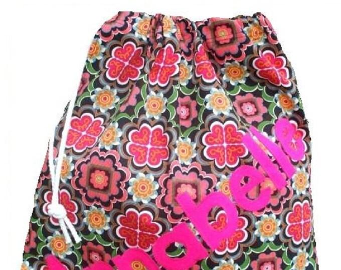 Malena Personalised bag, Drawstring bag, Scrubs bag,School bag, Pump bag, Gym bag, Nursery bag, Girls birthday gift, Appliqued Felt