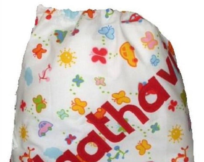 White Cotton Personalized Drawstring bag for School Nursery Diaper Nappy Kindergarten  Personalised with Appliqued felt
