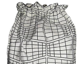 Ikea Fabric Black and White Laundry Bag, Storage Bag, Large Drawstring Bag, Nursing Home Bag, Utility Bag, Cottton Bag