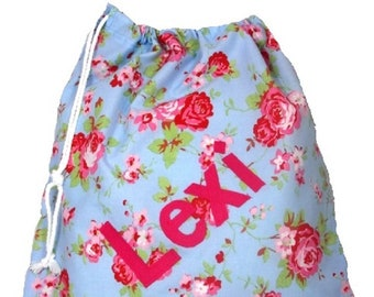Rosali Blue Floral + blue dotty Personalised Dance Bag, Drawstring Bag, School Bag, Pump Bag, Gym Bag, Nursery Bag