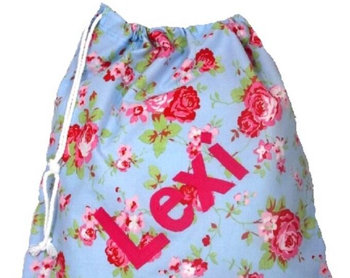 Rosali Blue Floral + blue dotty Personalised Dance Bag, Drawstring Bag, School Bag, Pump Bag, Gym Bag, Nursery Bag