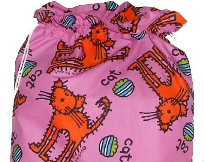 CAT Fabric Laundry Bag, Storage Bag, Large Drawstring Bag, Nursery Bag, Utility Bag, Cottton Bag, Cat Toy Storage, Handmade