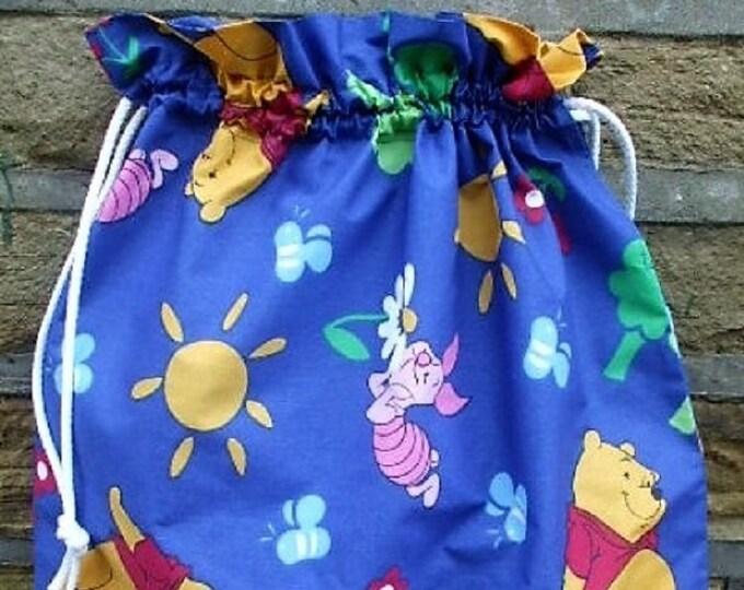 Pooh and Piglet Blue Bag, Fabric Laundry Bag, Storage Bag, Large Drawstring Bag, Nursery Bag, Utility Bag, Cottton Bag,