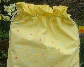 Yellow Smartie polka dot, Fabric Laundry Bag, Storage Bag, Large Drawstring Bag, Nursery Bag, Utility Bag, Cottton Bag,