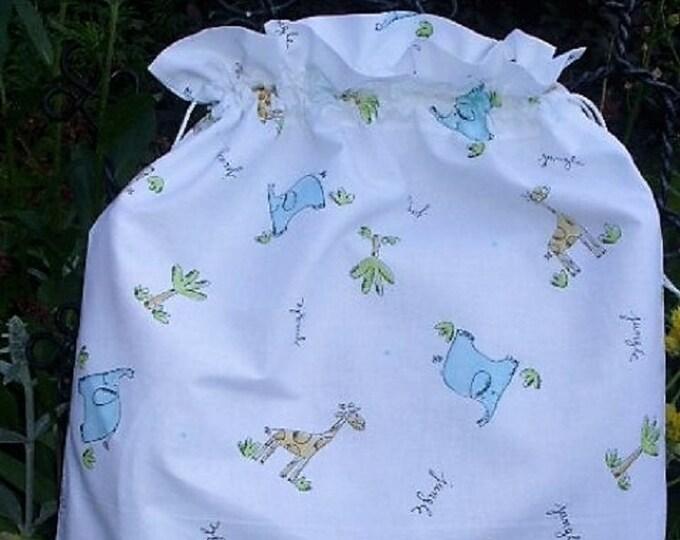 Jungle on crisp white cotton, Fabric Laundry Bag, Storage Bag, Large Drawstring Bag, Nursery Bag, Utility Bag, Cottton Bag,